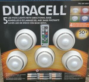 Duracell 5 LED Puck Lights Directional Base Remote Control Wireless + Batteries