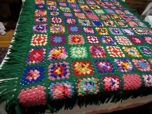 Beautiful Hand Made Crocheted Afghan Dk.Green Bright Multi Color Squares 66