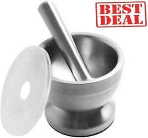 Mortar And Pestle 18/8 Stainless Steel Pestle Set Grind Food Herbs Spice
