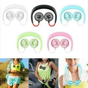 Portable USB Rechargeable Neckband Lazy Neck Hanging Dual Cooling Mini Fan Hot!