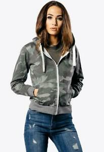 Womens Camouflage Plus Size Long Sleeve Zip Up Hoodie Size L XXL