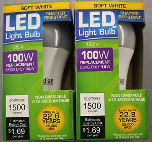 2 LED 14W (100W) 3000K Soft White 1500 Lumen Indoor Outdoor 22 Yr Light Bulb NEW
