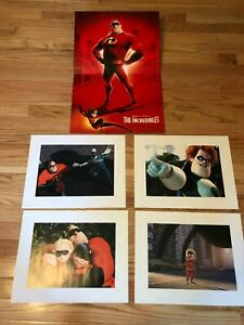 4 Disney Lithographs THE INCREDIBLES 2004 with matching portfolio $20.00