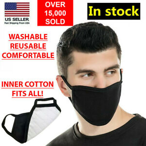 Black Unisex Face Mask Reusable Washable Cover Masks Fashion Cloth Me
