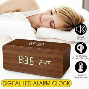 Modern Wooden Digital LED Desk Alarm Clock Qi Wireless Charger 2 Power Supply