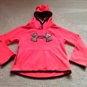 Girls Under Armour coral camo logo hoodie size 6 GUC $24.99