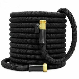 Double Latex Expandable Flexible Garden Hose with 3 4 Brass Connector 50FT Black