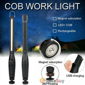 COB LED Slim Work Light Lamp Inspection Flashlight USB Rechargeable W/Hook Cable