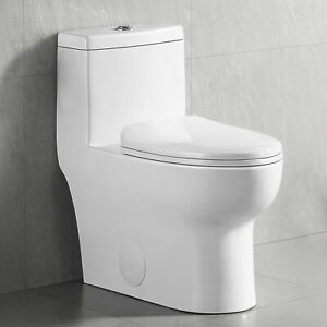 White Dual Flush Elongated One Piece Toilet With Soft Close Seat Water Closet $249.00