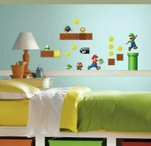 New Super Mario BUILD A SCENE Nintendo Wall Decals Kids Game Room  Decor C5