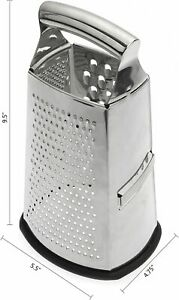 Box Grater, 4-Sided Stainless Steel Large 10-inch Grater for Parmesan Cheese, Gi