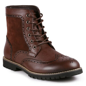 Brown Men#x27;s Lace Up Wing Tip Perforated Formal Dress Casual Fashion Oxford Boot