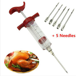 Turkey Marinade Injector Flavor Syringe Cooking Meat BBQ Cooking Chicken Needle