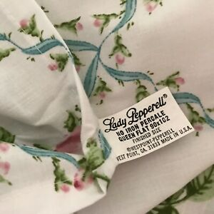 NEW Vtg LADY PEPPERELL Rosebuds Blue Ribbons Ruffled flat & fitted Sheets Queen