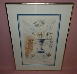 Salvador Dali Song of Songs Salomon Colored Etching Let Him Kiss Me Signed COA