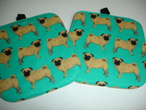 Set(2) Fawn Pug Dogs on Teal Print Cotton Heavy Duty Pot Holders