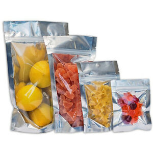 100 pcs Clear/Silver Flat & Stand Up Pouch Ziplock Mylar Smell Proof Bags