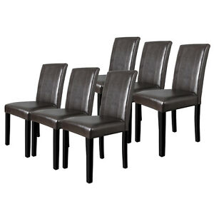 Set of 6 Dining Room Brown Parson Chairs Kitchen Elegant  Leather Design Formal