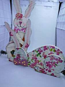 Wooden Napkinized Rabbits- Hand Done-Metal ears & Tail- very cute