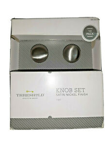 Threshold Knob Set 10 Pack Satin Nickel Finish New (Damaged Open Box)