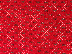 Red Christmas Calico Small Design Blocks with Holly Leaves amp; Berries Fabric BTHY