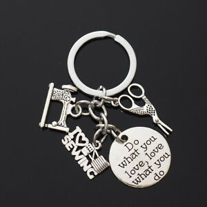 I Love Sewing Singer Machine Scissor Silver Do What You Love Tag Keychain Gift $5.99