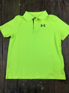 X7 Under Armour Polo Shirt Youth Boy's Large neon yellow never worn YLG $11.99