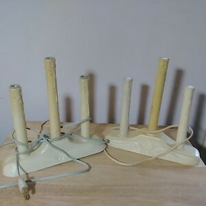 VTG 2 Christmas Electric 3 Light Window Candolier Candelabra Wax Drip Candle