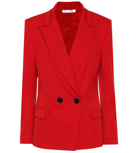 OSCAR DE LA RENTA Designer Fall 2018 Red Wool Blend Fitted Jacket Sz 10