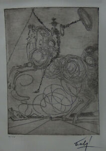 Limited edition etching Surrealism Horseman signed Salvador Dali with DOCS