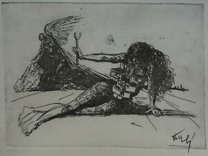 Limited edition etching surreal Figure with drawers signed Salvador Dali w DOCS