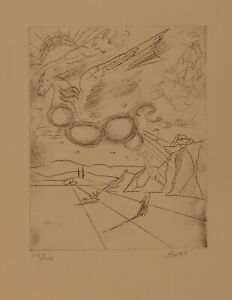 Limited edition etching Surrealism Pegasus signed Salvador Dali with DOCS