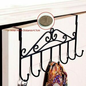 Black Over The Door 7 Hanger Hook Holder Clothes Coat Metal Hooks Rack Decor