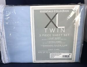 TwinXL 3 Pc Sheet Set, Microfiber, Light Blue