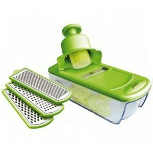 Grater Mandolinetta Green With 4 Blades Stainless Steel And Container Eva
