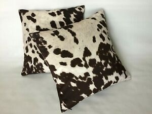 NEW Set of 2 Covers Cushion Cases Pillow 18#x27;#x27;*18quot;Faux Cowhide Cow Print $29.00