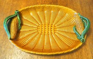 SUPERB VERY LARGE CERAMIC SERVING TRAY- WICKER DESIGN & CORN ON THE COB HANDLES