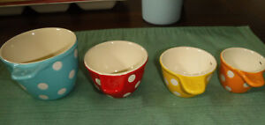 Set of 4 Measuring Cup Set Ceramic  Multi-color Blue Red Yellow Orange NWT