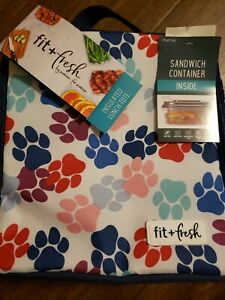 Fit & Fresh Insulated Lunch Tote With Sandwich Container Paw Print Dog Cat NEW