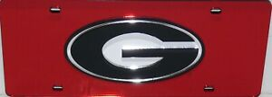 GEORGIA BULLDOGS RED MIRRORED INLAID ACRYLIC G AUTO LICENSE PLATE