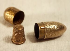 Rare Vintage Austrian Gold Toned Travel Sewing Kit Victorian Style Egg $35.00
