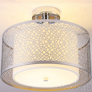 Chrome Finish Semi Flush Mount Ceiling Lamp Frosted Glass Hollow Shape Bedroom