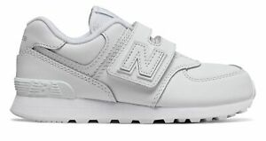 New Balance Kids 574 Hook and Loop Little Kids Male Shoes White $20.46