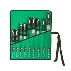 Nicholson File Set Mill Flat Tapered Plastic-Handle Hand Tool Pouch (9-Piece)