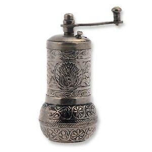 Turkish Handmade Grinder, Spice Grinder, Pepper Mill 4.2''(Antique Silver)