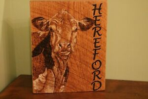 HEREFORD hand made wood burnt picture on oak