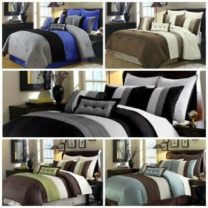 Chezmoi Collection 8 Piece Luxury Pintuck Pleated Stripe Duvet Cover Set
