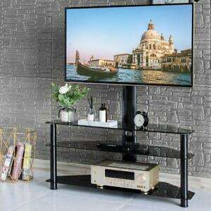 Glass 3 Tier Shelf Floor TV Stand with Swivel Mount for 32