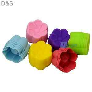 6pcs Silicone Flower Shape Mold Cup Cake Chocolate Sugarcraft Baking Mould Tools
