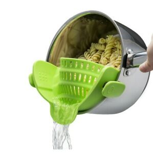 Pasta Strainer, Clip on Colander Pot Silicone Fits all Pots -  Snap N Strain